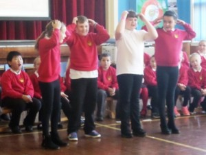 Heads, shoulders, knees and toes was performed in English, French, Spanish, German and Doric.